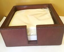 Pigeon & Poodle Bristol Tobacco Leather Cocktail Napkin Tray Full-Grain Leather