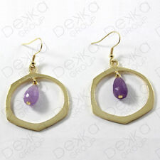 Gold Hoop Ring Amethyst Earrings Hook Semi Precious Stone Bronze Gemstones