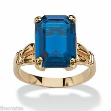 WOMENS 14K GOLD PLATED BIRTHSTONE EMERALD CUT SAPPHIRE RING  SIZE 5 6 7 8 9 10