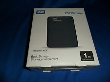 WESTERN DIGITAL ELEMENTS 1TB -  USB 3.0 & 2.0 BLACK -  PORTABLE HARD DRIVE