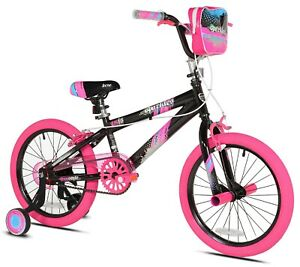 """Girl's 18"""" Sparkles BMX Bike w/ Front Pegs, Bag and Training Wheels, Ages 6-9"""