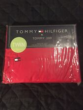 Tommy Hilfiger Twin FLAT Sheet 100% Ringspun Combed Cotton Tommy 200 New Red