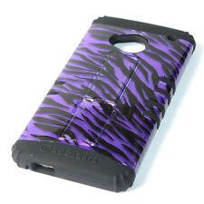 for HTC ONE M7 - PURPLE ZEBRA STRIPES Hard & Soft Rubber Hybrid Skin Armor Case
