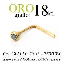Piercing naso nose ORO GIALLO 18 kt. ACQUAMARINA azzurra yellow GOLD acquamarine