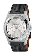 GUCCI YA115230 Pantheon 115 Series Black Leather Band Date Men's Watch $995