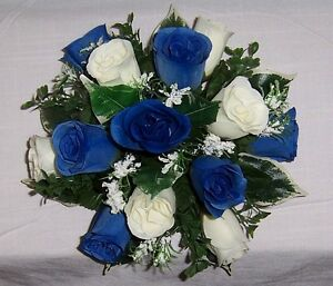 beautiful wedding flowers guest table decoration royal blue & ivory roses & gyp