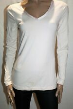 Dotti Brand Nude Satin Trim V Neck Long Sleeve Tee Size L BNWT #TE111