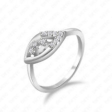 925 Sterling Silver Ring Size 4-12 Unique Leaf Designed Round Simulated Diamond