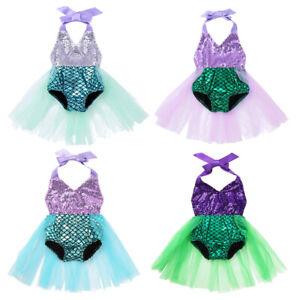Baby Girls One-piece Halter Scales Printed Sequin Romper Skirt Swimsuit Swimwear