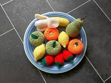 FRUIT SELECTION HAND KNITTED / CROCHETED TOY FOOD / DECORATION / ROLEPLAY *NEW*