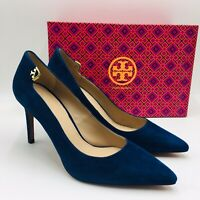 Tory Burch Women's Elizabeth Pointed Toe Pumps Size 9.5 Navy Suede