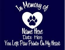 In Memory of Cat Custom Car Vinyl Decal Window Sticker Paw Prints