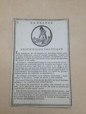 CARTES 1er EMPIRE JEU GEOGRAPHIE HISTOIRE FRANCE - signature Adèle de Fontenelle