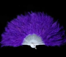 "MARABOU FEATHER FAN - ROYAL BLUE Feathers 12"" x 20"""