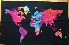 World  Map Tie Dye  Indian  Batik   Cotton  Wall  Hanging  !!     Brand New !!
