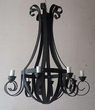 Lampadario in ferro battuto realizzato a mano numero punti luce 8 col.nero