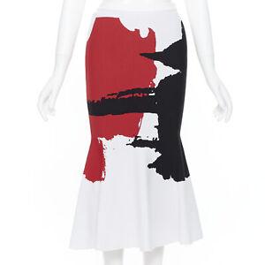OSCAR DE LA RENTA 2017 viscose white red black jacquard knit flared skirt XS
