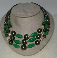 "13"" Gold Tone Mint Green Glass Triple Strand Necklace Vintage, Hook closure VTG"