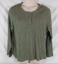 Fresco Nomadic Traders Rayon Green Crinkle Knit Top HENLEY Long Sleeve XL NWT