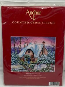 ANCHOR Counted Cross Stitch Kit  PCE884 Snow Cottage NEW