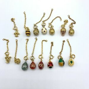 Joan Rivers Classic Collection Gold Tone & Enamel Egg Charms With Extenders