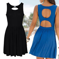 genial Rücken Kleid Gr.44/46 SCHWARZ Mini Sommerkleid Shirtkleid