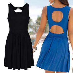 SCHWARZ Rückendekollette Kleid Gr.44/46 Mini Sommerkleid Shirtkleid Stretch