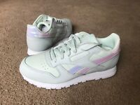 Reebok Classic Leather Running Trainers Storm Glow & White Green Pearl Uk 3.5