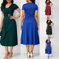Women Asymmetric Hem V Neck Mini Dress Party Evening Dresses Plus Size S-5XL