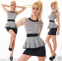 Sexy Peplum MIni Dress in Grey/Black. UK 8/10 EU 36/38.