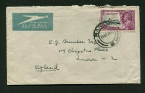 1935 Silver Jubilee Basutoland 6d on correct rate air mail cover to UK