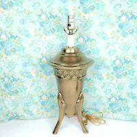"""Vintage Brass Urn Table Lamp 3 Tapered Legs Mid Century Neoclassical Style 20.5"""""""