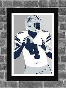 Dallas Cowboys Dak Prescott Portrait Sports Print Art 11x17