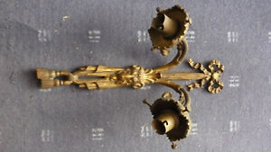 Vintage Ornate Victorian Style Bronze  Double Sconce Candleholder Wall ram head
