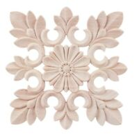 1X Rubber Wood Carved Floral Decal Craft Onlay Applique Furniture DIY Deco Z1P9
