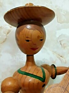 "Music Box LARAS THEME Swiss Movement Wind-Up Girl w/ Guitar REUGE Vintage 9"""