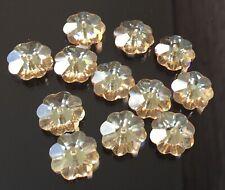 12 Swarovski® Crystal Margarita Flower Col Topaz Beads #3700  Beads Loose beads