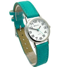 Ravel Ladies Everyday Big Number Watch With White Dial and Turquoise Blue Strap