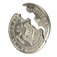 Bite Out Quarter Magic Trick Close-Up Coin Illusion & Restored Half D TPHC