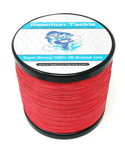 Reaction Tackle High Performance Braided Fishing Line / Braid - NO FADE Red