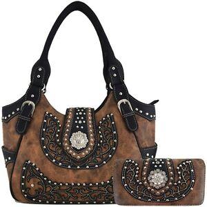 Western Country Studded Handbag Concealed Carry Purse Women Shoulder Bag Wallet