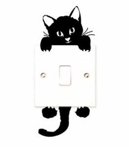 Cute Black Cat Wall Switch Sticker Mural Art Baby Nursery Room Kids Home Decor