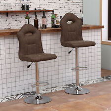 Set of 2 Pu Leather Swivel Bar Stools Hydraulic Pub Chair Adjustable Home Modern