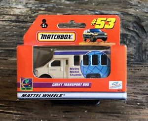 2000 Matchbox #53 #73 Chevy Transport Bus Motel Shuttle MIB ROW UK Euro Box 1/64