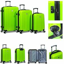 """New """"Dejuno"""" 3 Piece Polycarbonate HardShell Spinner Suitcases Luggage set -Lime"""