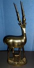 "Vintage Brass Figure 17"" Brass Gazelle w/ Nursing Baby Nice Condition"
