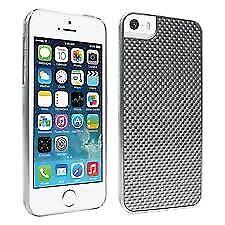 New OEM Verizon iPhone 5 / 5S / SE Silver Genuine Carbon Fiber Snap Cover Case