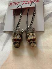 Betsey Johnson Black Queen Skeleton Skull Crown Red Crystal Earrings