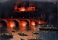 Beleuchtung Heidelberger Schloss XL Kunstdruck 1905 Franz Huth Neckar Heidelberg