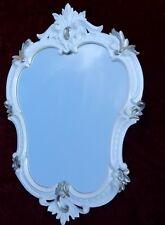 Espejo de pared Ovalado Blanco Plata Barroco ANTIGUO 50x35 baño C444 NUEVO